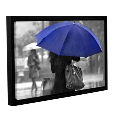 Brushstone Rainy Blue Gallery Wrapped Floater-Framed Canvas Wall Art