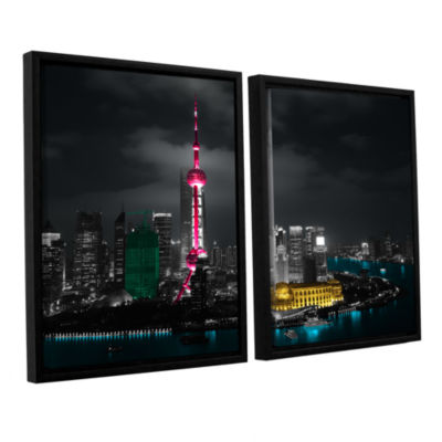 Brushstone Pudong 2-pc. Floater Framed Canvas WallArt