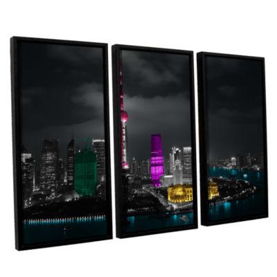 Brushstone Pudong 3-pc. Floater Framed Canvas WallArt