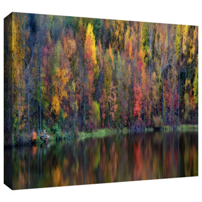 Brushstone Reflections Panoramic Gallery Wrapped Canvas Wall Art