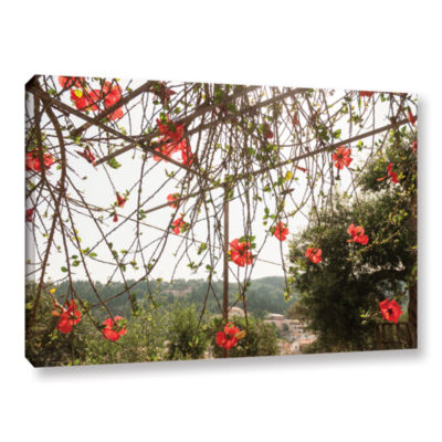 Brushstone Red Hibiscus On Paxos Island; Greece Gallery Wrapped Canvas Wall Art