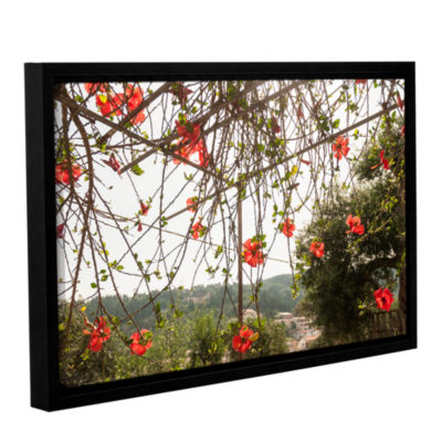 Brushstone Red Hibiscus On Paxos Island; Greece Gallery Wrapped Floater-Framed Canvas Wall Art