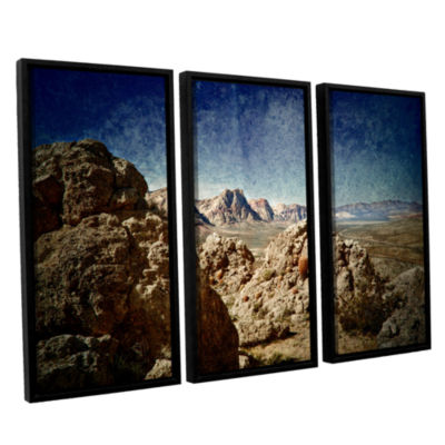 Brushstone Powder 3-pc. Floater Framed Canvas WallArt