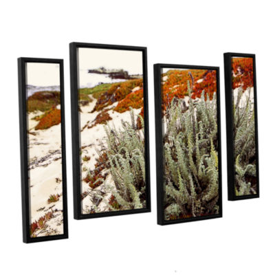 Brushstone Red Ice On Beach III 4-pc. Floater Framed Staggered Canvas Wall Art