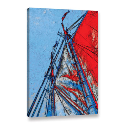 Brushstone Red Sails At Sea Gallery Wrapped CanvasWall Art
