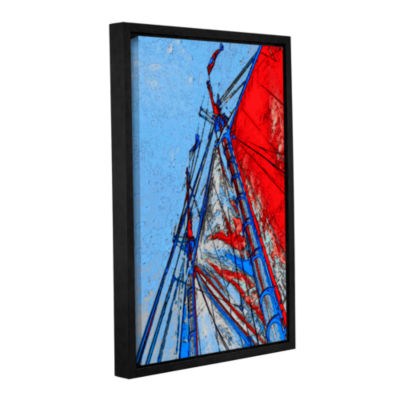 Brushstone Red Sails At Sea Gallery Wrapped Floater-Framed Canvas Wall Art
