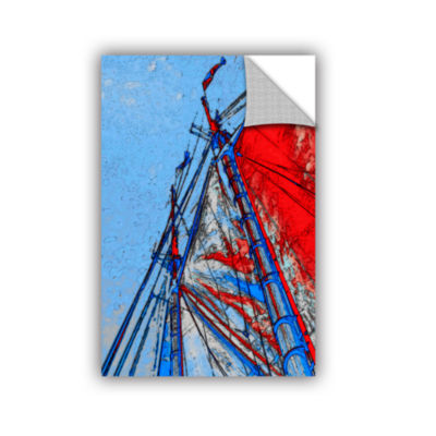 Brushstone Red Sails At Sea Removable Wall Decal