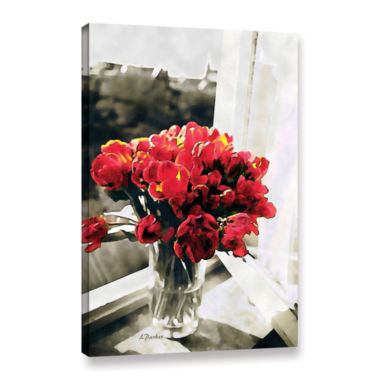 Brushstone Red Tulips In Window Gallery Wrapped Canvas Wall Art