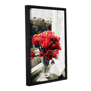 Brushstone Red Tulips In Window Gallery Wrapped Floater-Framed Canvas Wall Art