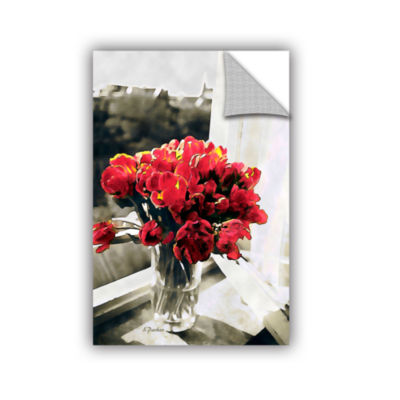 Brushstone Red Tulips In Window Removable Wall Decal