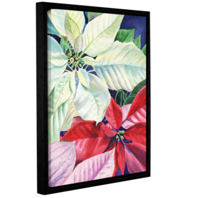 Brushstone Poinsettia 2 Gallery Wrapped Floater-Framed Canvas Wall Art