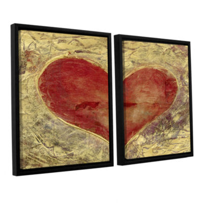 Brushstone Red Heart Of Gold 2-pc. Floater FramedCanvas Wall Art