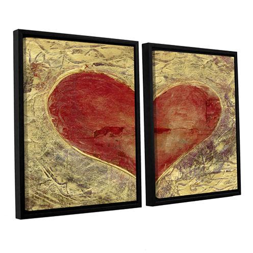 Brushstone Red Heart Of Gold 2-pc. Floater FramedCanvas Wall Art