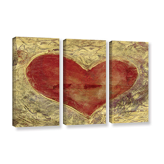 Brushstone Red Heart Of Gold 3-pc. Gallery Wrapped Canvas Wall Art