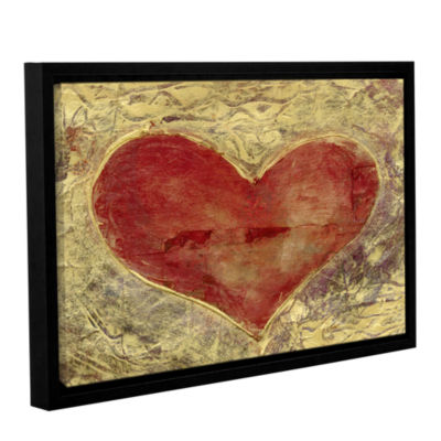 Brushstone Red Heart Of Gold Gallery Wrapped Floater-Framed Canvas Wall Art