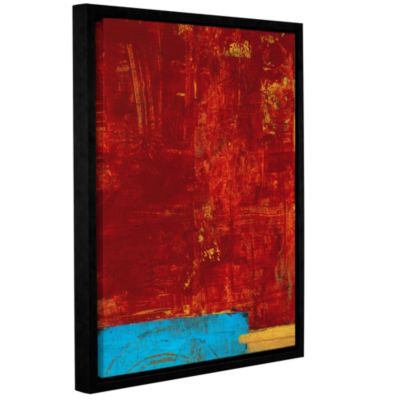 Brushstone Red Abstract Gallery Wrapped Floater-Framed Canvas Wall Art