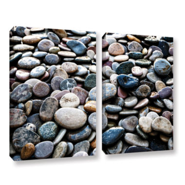 Brushstone River Stones 2-pc. Gallery Wrapped Canvas Wall Art