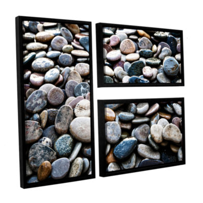 Brushstone River Stones 3-pc. Flag Floater FramedCanvas Wall Art