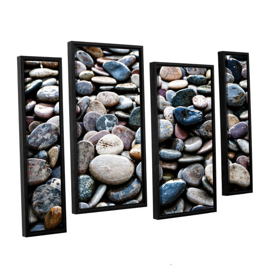 Brushstone River Stones 4-pc. Floater Framed Staggered Canvas Wall Art