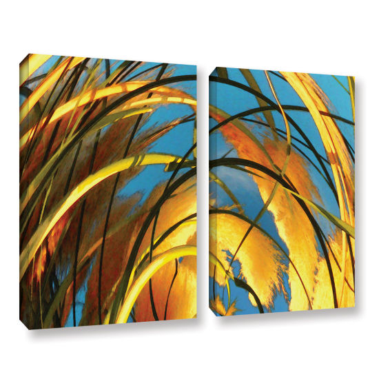 Brushstone Polar Pampas 2-pc. Gallery Wrapped Canvas Wall Art
