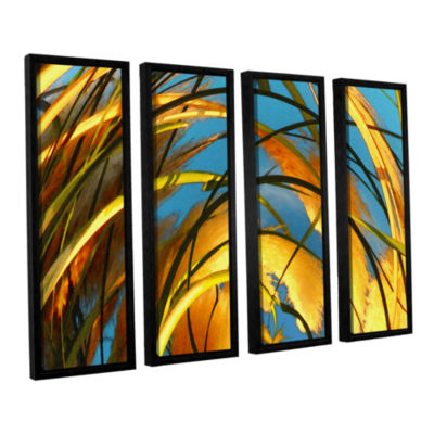 Brushstone Polar Pampas 4-pc. Floater Framed Canvas Wall Art