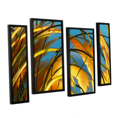 Brushstone Polar Pampas 4-pc. Floater Framed Staggered Canvas Wall Art