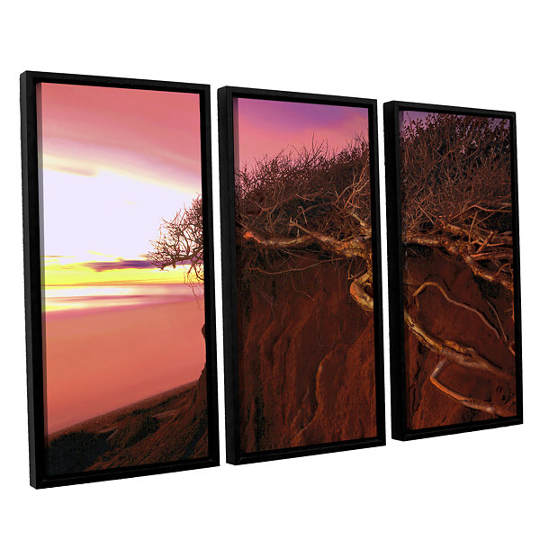 Brushstone Ponto Beach Afterglow 3-pc. Floater Framed Canvas Wall Art