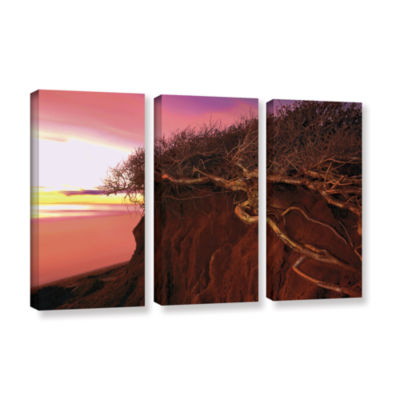 Brushstone Ponto Beach Afterglow 3-pc. Gallery Wrapped Canvas Wall Art