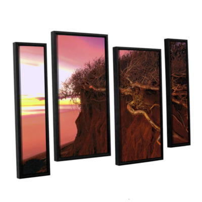 Brushstone Ponto Beach Afterglow 4-pc. Floater Framed Staggered Canvas Wall Art