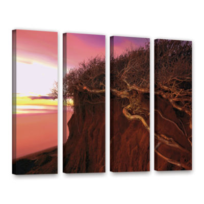Brushstone Ponto Beach Afterglow 4-pc. Gallery Wrapped Canvas Wall Art