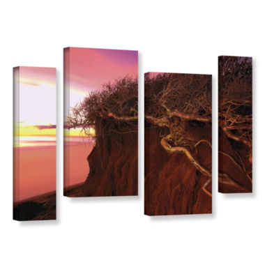 Brushstone Ponto Beach Afterglow 4-pc. Gallery Wrapped Staggered Canvas Wall Art