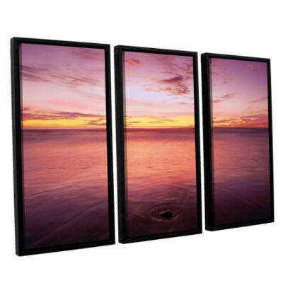 Brushstone Ponto Beach Twilight 3-pc. Floater Framed Canvas Wall Art