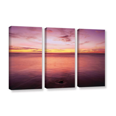 Brushstone Ponto Beach Twilight 3-pc. Gallery Wrapped Canvas Wall Art