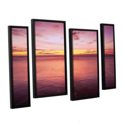 Brushstone Ponto Beach Twilight 4-pc. Floater Framed Staggered Canvas Wall Art