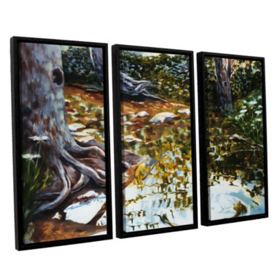 Brushstone Reflections In Stream 3-pc. Floater Framed Canvas Wall Art