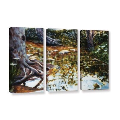 Brushstone Reflections In Stream 3-pc. Gallery Wrapped Canvas Wall Art