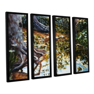 Brushstone Reflections In Stream 4-pc. Floater Framed Canvas Wall Art