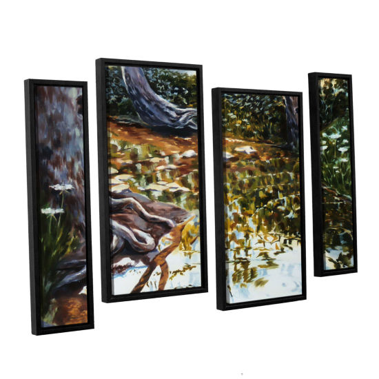 Brushstone Reflections In Stream 4-pc. Floater Framed Staggered Canvas Wall Art