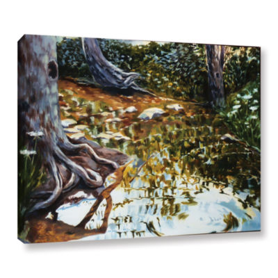 Brushstone Reflections In Stream Gallery Wrapped Canvas Wall Art
