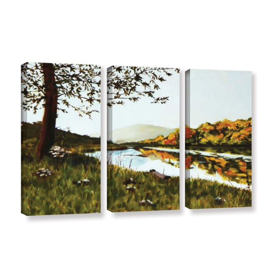 Brushstone River Scene 3-pc. Gallery Wrapped Canvas Wall Art