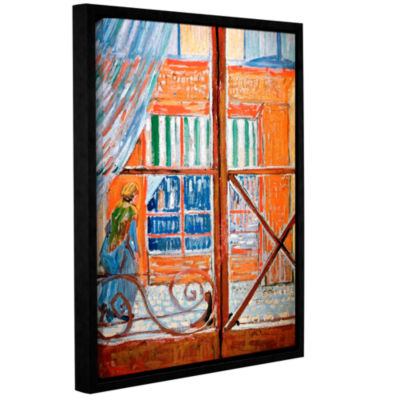 Brushstone Pork-Butchers Shop Through The Window Gallery Wrapped Floater-Framed Canvas Wall Art