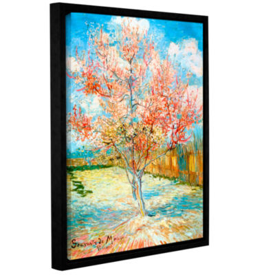 Brushstone Pink Peach Tree Gallery Wrapped Floater-Framed Canvas Wall Art