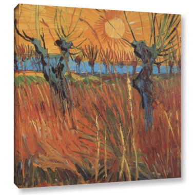 Brushstone Pollard Willows With Setting Sun (Willows At Sunset) Gallery Wrapped Canvas Wall Art