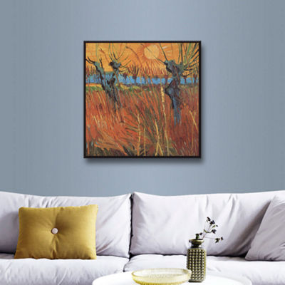 Brushstone Pollard Willows With Setting Sun (Willows At Sunset) Gallery Wrapped Floater-Framed Canvas Wall Art