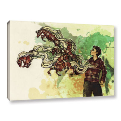 Brushstone Plaid Ponies Gallery Wrapped Canvas Wall Art