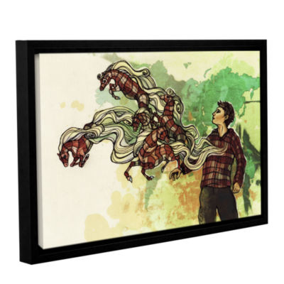 Brushstone Plaid Ponies Gallery Wrapped Floater-Framed Canvas Wall Art