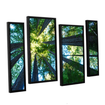 Brushstone Redwood Fusion 4-pc. Floater Framed Staggered Canvas Wall Art