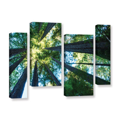 Brushstone Redwood Fusion 4-pc. Gallery Wrapped Staggered Canvas Wall Art