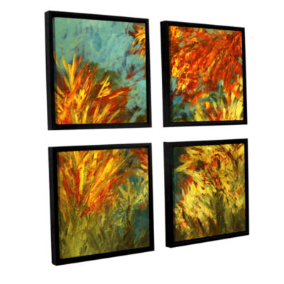 Brushstone Quiet Lake ! 4-pc. Square Floater Framed Canvas Wall Art