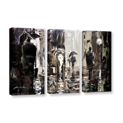 Brushstone Rain 3-pc. Gallery Wrapped Canvas WallArt
